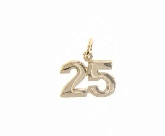 18K YELLOW GOLD NUMBER 25 TWENTY FIVE PENDANT CHARM 0.7 INCHES 17 MM MADE ITALY