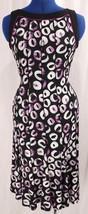 Dressbarn 4 Maxi Dress Sleeveless Black Purple Piping Seam Flouncy Hem S... - $38.65