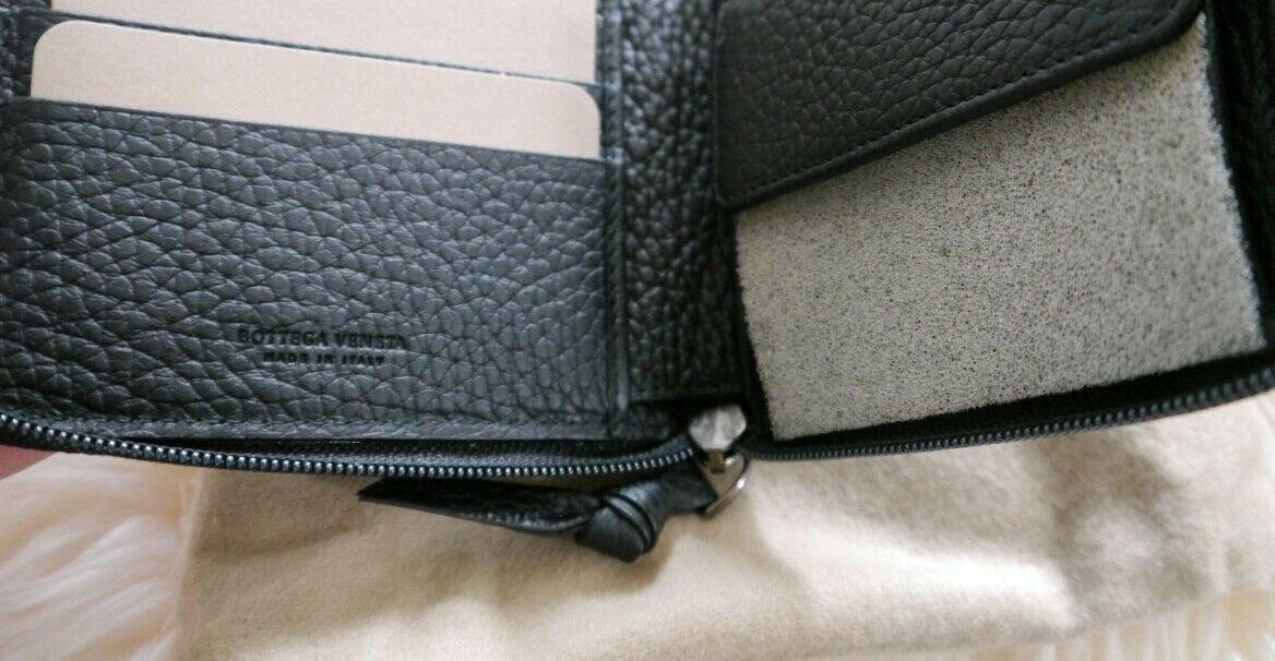 NIB 100% AUTH Bottega Veneta Black Leather Zip Around Wallet W/Coin Pocket