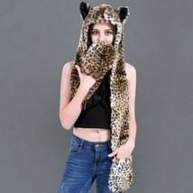 Women's Warm Ear Flaps Winter Animal Faux Fur Beanie Hoodie Gloves Plush... - $29.44