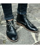 Handmade Men Black Leather Chukka boots, Men ankle high leather casual b... - $169.99