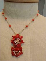 """17""""SIGNED Joan Rivers Red Coral Flower Pendant Necklace,Dainty,Faux Diamonds, - $35.63"""