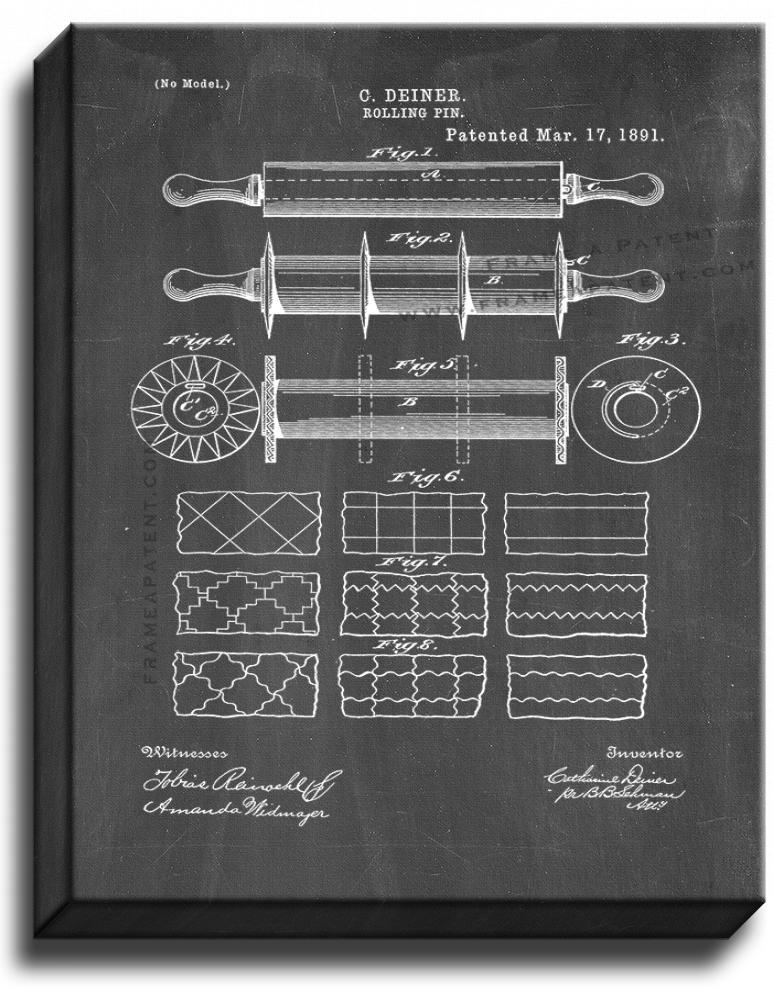 Primary image for Rolling Pin Patent Print Chalkboard on Canvas