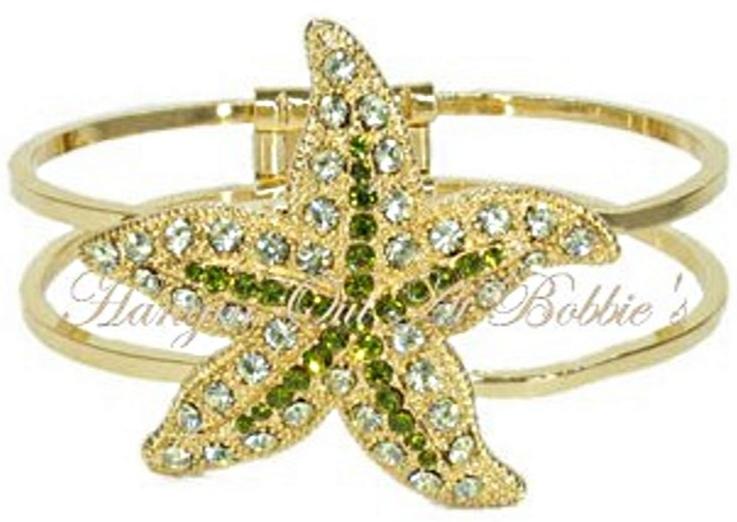 Starfish Bangle Bracelet Lime Green Clear Crystal Multicolor Metal Ocean Theme - $29.99