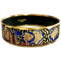 Vintage Hermes cloisonne enamel yellow and gold fish in blue, black, red bangle  - $458.00