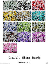 100pcs Smooth Crackled Glass Round Spacer Loose Beads 8mm 10mm Jewelry C... - $2.61+