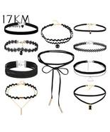 17KM 10 PCS/Set New Gothic Tattoo Leather Choker Necklaces Set for Women - $12.99