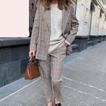 Women's  Double Breasted Plaid Blazer Pant Suit Set image 3