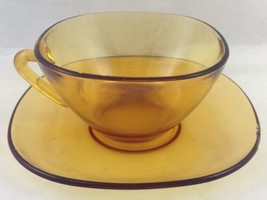One Vtg Amber Glass Square Cup and Saucer Vereco Made in France Mid Cent... - $19.74