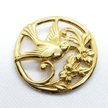 Coro Gold On Sterling Silver 925 Hummingbird Flower Brooch Pin 12.1g - $19.99