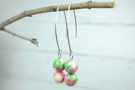 Colorful Agate Dangle Earrings, Pink and Green Natural Agate, Sterling Silver - $14.00