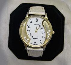 Large Goldtone Crystal Wristwatch WhiteBand Japona No Battery - $12.00