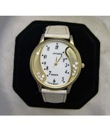 Large Goldtone Crystal Wristwatch WhiteBand Japona No Battery - $12.00