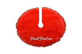 5' Round Red Tree Skirt Christmas Holiday Faux Fur Decor - $104.50