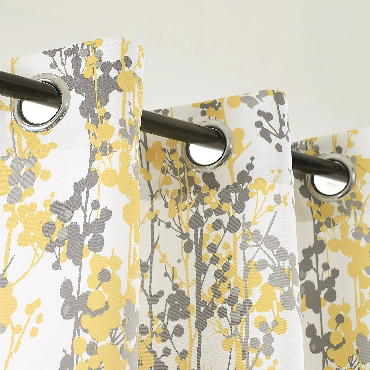 Set 2 Yellow Gray Grey White Floral Curtains Panels Drapes