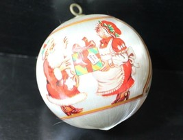 Mr and Mrs Claus Satin Christmas Ornament Bulb 1983 Vintage - $4.99
