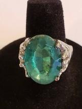 Silvertone Green Faceted Rhinestone Ring Fun Fashion Costume Jewelry - S... - $8.99