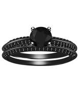 Womens Lab Created Black Diamond Bridal Ring Set 14k Black Gold Over 925 Silver - $82.31