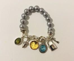 6 Charms Stretch Bracelet Silver Metal Link Chain Grey Beads Gemstone Lo... - $28.00