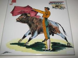 "Vintage Tile Ceramic Hand Painted Spain 8"" Bullfighter Matador Bull Triv... - $12.86"