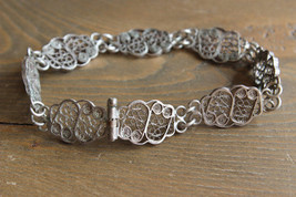Vintage Filigree Bracelet with Unique Pin Locking Clasp Size: 7 inches x... - $29.70
