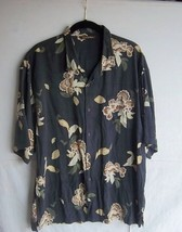 TOMMY BAHAMA - Men's Silk Black/Tans Hawaiian Print S/S Shirt -- Size XL - $14.99