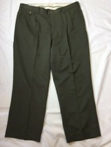 Orvis 100% Polyester Travel Dress Olive  Green Pleated Pants Men's 40x28 - $23.35