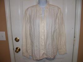 J. Jill Ivory Long Sleeved Button Down Shirt Size Medium Women's NWOT LA... - $28.08