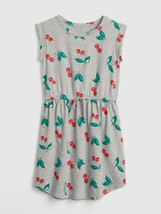 GAP Kids Girls Cherry Print Gray Red Cinched Waist Cotton T-shirt Dress ... - $19.79