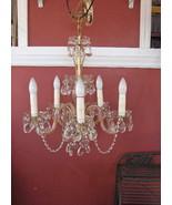 Vntg Crystal Austrian Crystal Hanging Chandelier Light - $470.25