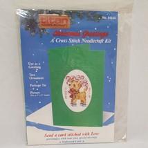 Christmas Green Card Cross Stitch Kits 1988 Reindeer Titan Needcraft Emb... - $8.23