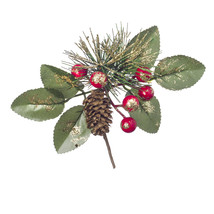 Christmas Green Gold Pick With Berry And Pinecones Glitter 6.3 X 2.76Inches - $15.00