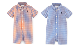 Ralph Lauren Baby Boys Short Sleeve Plaid Shortall - $27.00