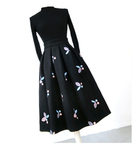 Women Black Winter Wool Pleated Skirt High Waisted Midi Pleated Skirt Plus Size image 6