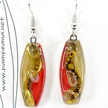 Handmade Recycled Fused Glass Red & Brown Oval Surf Hook Earrings Made Ecuador image 3