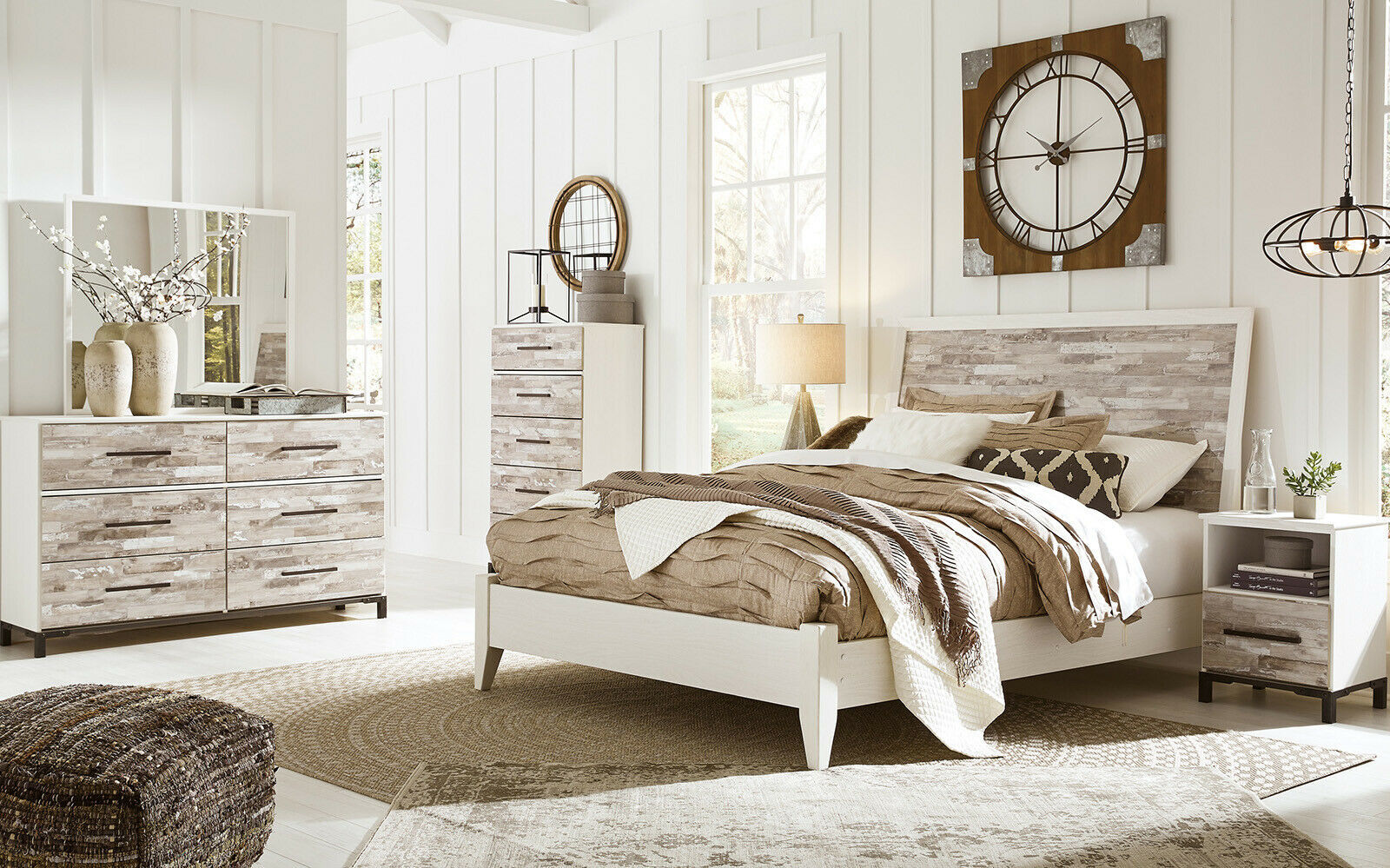 dante 5 pieces modern cottage rustic white wood queen king