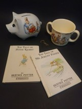 Peter Rabbit Piggy Bank w/ 2 Books And Bunnykins Cup of Fine Bone China - $31.67