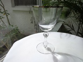 Tiffin Franciscan Wind Song Clear Crystal Wine Glass 1967 - 1976 Platinum Rim - $17.81