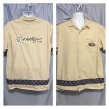 Tommy Hilfiger Hawaiian Shirt sz Large Letter Logo Hibiscus Floral Tan ... - $37.18