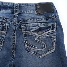 Silver Suki Fluid Distressed Flap Pocket Mid Boot Cut Jeans Womens 27 27x29 - $29.56