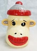 "Cracker Barrel Sock Monkey Cookie Jar Christmas Fun 9"" Tall - $39.99"