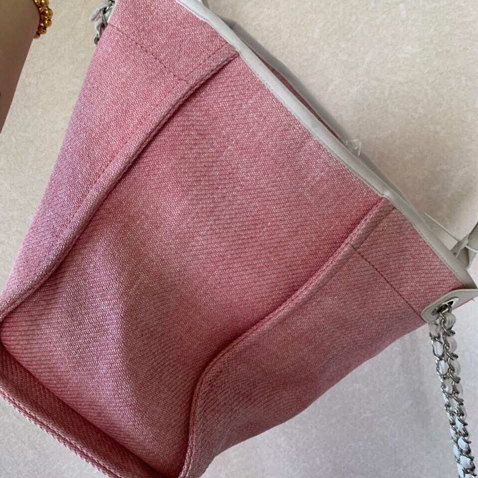 AUTHENTIC CHANEL LIGHT PINK RED CANVAS LARGE DEAUVILLE 2 WAY TOTE BAG