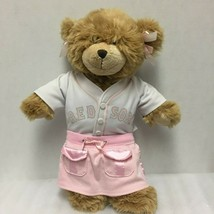 Vintage Build A Bear Work Shop Boston Red Sox Jersey Pink Skirt Bows - $19.62