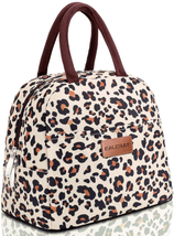 Lunch Bag Tote for Women, Insulated Lunch Container (Beige with leopard. - $23.94