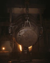 Molten iron poured into furnace for conversion to steel US Homefront Pho... - $6.61+