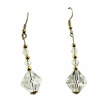 Crystal Beaded Drop Earrings Vintage Pierced Faceted Gold Tone e752 - $12.99