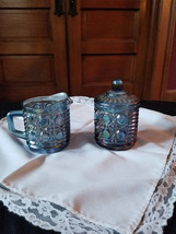 Blue carnival glass sugar and creamer Federal Glass Button and cane - $30.00