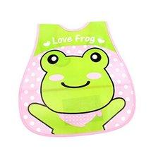 Lovely Green Frog Adjustable Waterproof PVC Baby Bib Pocket Protect Bib 4528CM