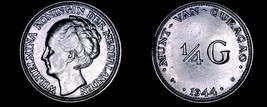 1944-D Curacao 1/4 Gulden World Silver Coin - Wilhelmina I - $20.99