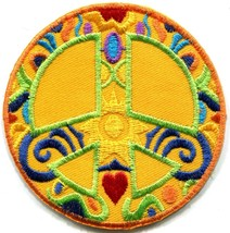 Peace sign hippie boho retro sixties flower power applique iron-on patch... - $2.95